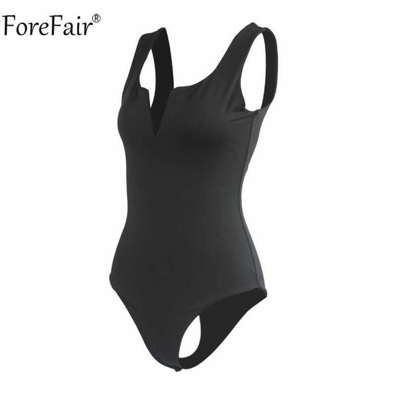 Forefair cuello en V Body sexy sin mangas de las mujeres mameluco de verano blanco negro sin respaldo Body Top