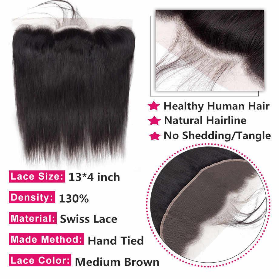 Bling cabelo peruano em linha reta do laço do cabelo humano fechamento frontal 13x4 médio/livre/três parte laço suíço 100% remy linha fina natural