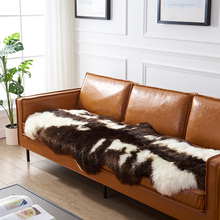 Real Sheepskin Pelt  Rug 1P 2P in natural brown leopard printed pattern, decoration fur floor mat