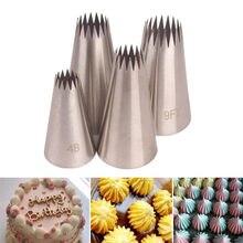 Bicos de confeiteiro de grande gelo # 4b, 4 unidades, para decoração do bolo, assar, bico de confeiteiro, aço inoxidável, dicas de pastelaria # 9ft
