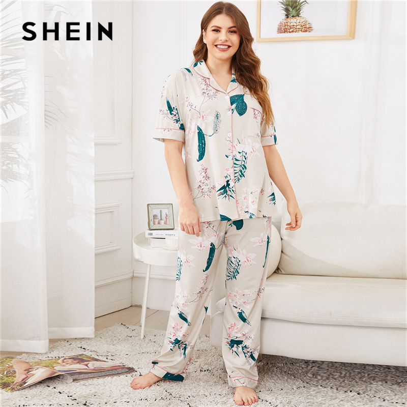 SHEIN Plus Size Beige Floral Print Short Sleeve Top And Long Pants Pajama Set Women Autumn Casual Notched Plus Sleepwear PJ Set