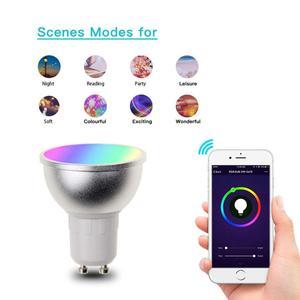 Image 4 - Boaz EC 6 قطعة GU10 الذكية واي فاي الأضواء LED لمبة 5 واط الملونة للتغيير Snart Wifi GU10 عكس الضوء لمبات اليكسا صدى جوجل المنزل IFTTT تويا الذكية ليلة الخفيفة