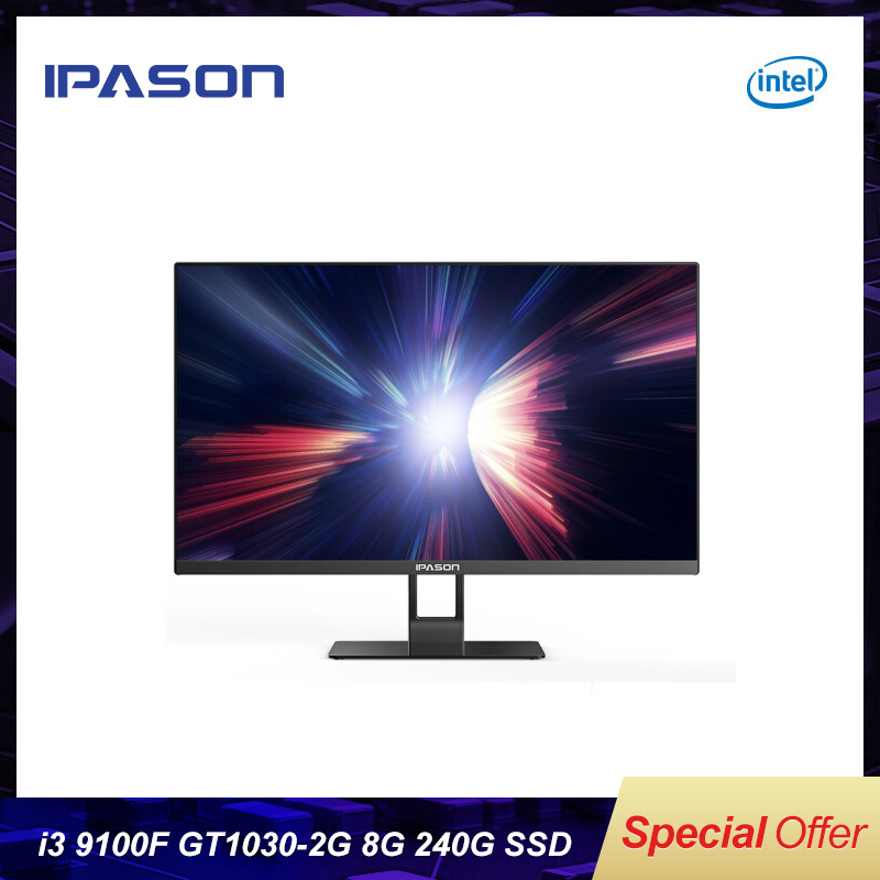 IPASON Mover X 23.8-inch Ultra-thin All-in-one Computers 9th Gen Intel I3-9100F DDR4 8G RAM 240G SSD GT1030-2G Dedicated Card