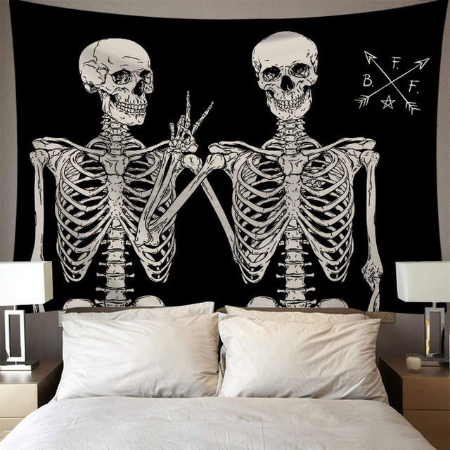 Skeleton Tapestry Wall Hanging Room Witchcraft Throw Rug Carpet Sun Tapestries Art Psychedelic Home Decoration Accessories 4