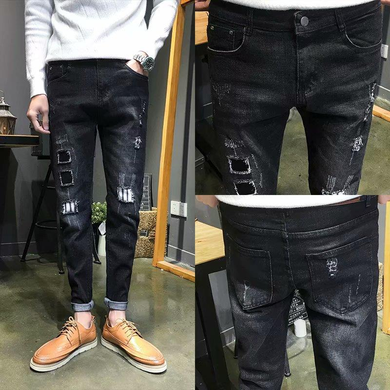 Wholesale 2019 streetwear   Jeans   autumn winter stretch feet pants men pants Japanese youth ripped hole patch pencil   jeans   hombre