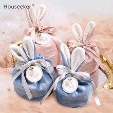 Bolsas de terciopelo con Orejas de conejo de dibujos animados bolsa de embalaje de galletas de caramelo de Pascua para hornear, bolsa de regalo autoadhesiva de feliz Fiesta de Pascua para galletas
