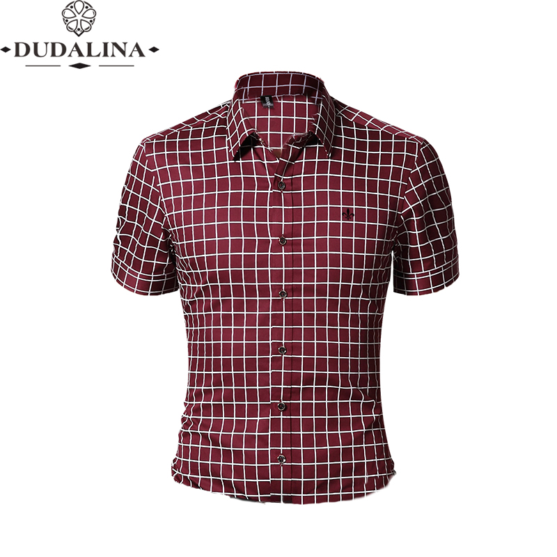 Fashion Cotton Blouse Plaid Shirt Male Social Dudalina Short Sleeve Slim Fit Shirt Men Clothing Embroidery White Male Cold