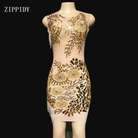 Bright Crystals Chains Mirror Stones Dress Mesh Perspective Dress Evening Birthday See Through Outfit Performance YOUDU