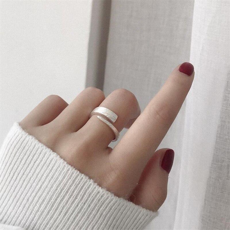925 Sterling Silver Rings Adjustable Geometric Finger Ring For Women Wedding Jewelry Bijoux Femme  JZ282