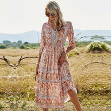 2021 Spring New Bohemia Floral Dress Women Casual V Neck High Waist Half Sleeve Dress For Women Fashion Print Summer Dress