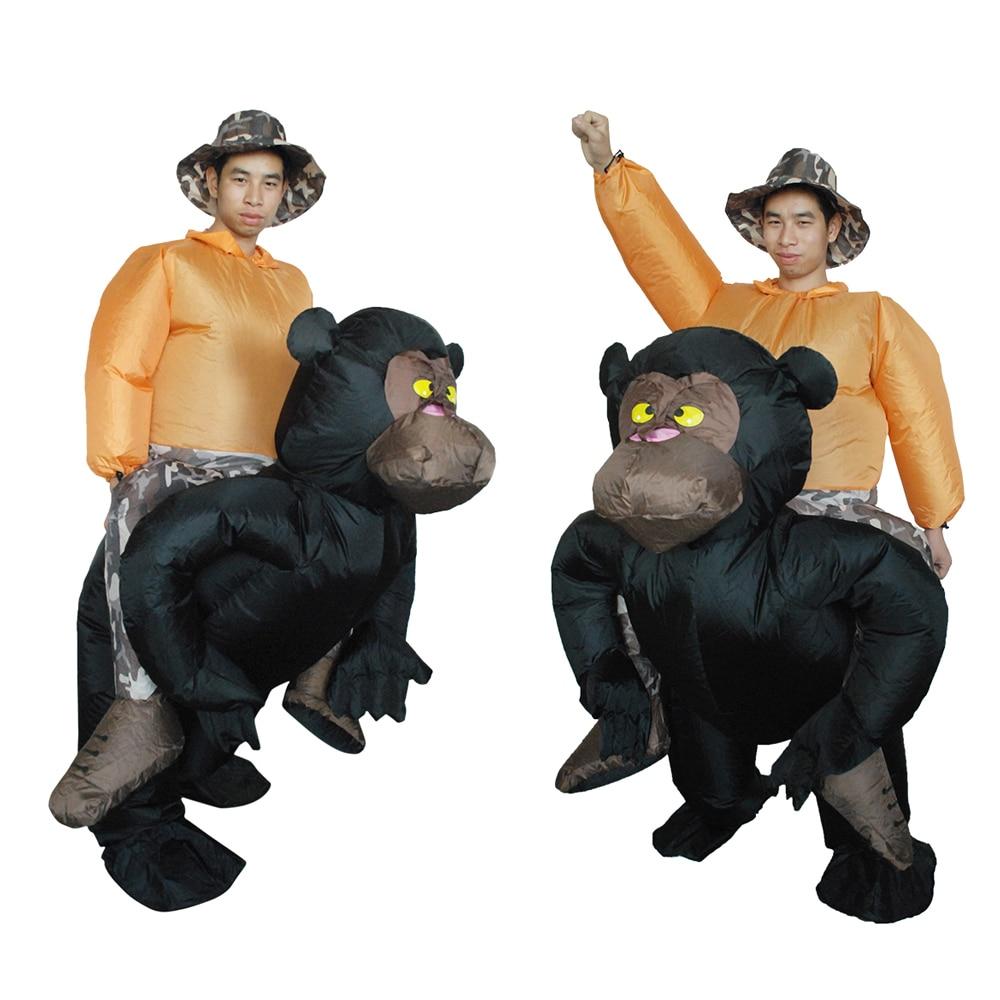 Adult Inflatable Chimpanzee Halloween Costume Suit Blow Up Fancy Dress Festival Party Inflatable Black Orangutan Outfit Jumpsuit