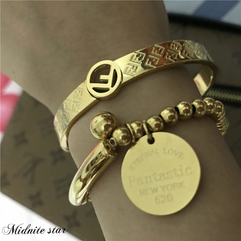 Bracelet jonc ensemble mode F 7MM Bracelet plaqué or poignet ouvert Bracelet acier inoxydable charme bijoux tendance femme taille