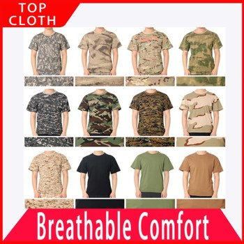 Summer Outdoor Army Combat Training Exercise Camouflage Short Sleeve T-shirt Male Tactical Tees Airsoft Top