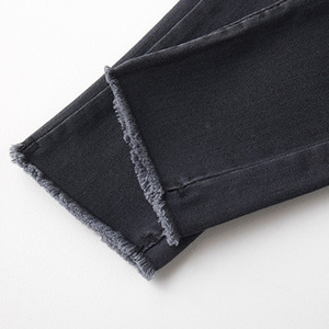 Image 5 - ג ינס נשים עיפרון סקיני Slim ציצית כפתור לטוס מוצק נשים Bottoms בסיסי ז אן קלאסי שיק קוריאני סגנון פנאי אופנתי שיק