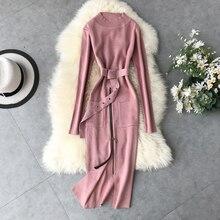 Mooirue Autumn Winter Women Slim Kintting Long Dress  Belt Zipper O Neck Vintage Streetwear Korean Style Casual Sweater