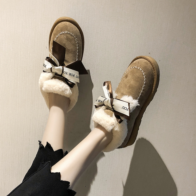 2019 Women Snow Boots Winter Ankle Boot Female Bow Warmer Plush Suede Rubber Flat Slip On Fashion Platform Ladies Shoes 28