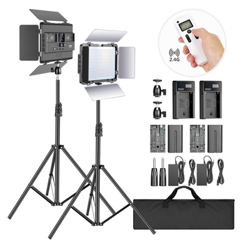 цена на Neewer 2-Pack 2.4G LED Light with 2M Stand Bi-color 600 SMD CRI 96+ LED Panel/Barndoor/LCD Display Video Lighting Kit for Studio