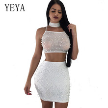 YEYA New Arrival Womens Beaded Hot Drilling Sexy Club Dress Three Pieces Women Hollow Out Backless Back Cross Bandage Dresses