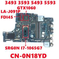 CN-0N18YD 0N18YD N18YD For Dell Inspiron 3493 3593 5493 5593 Laptop Motherboard FDI45 LA-J091P With I7-1065G7 GTX1060 Tested OK 1