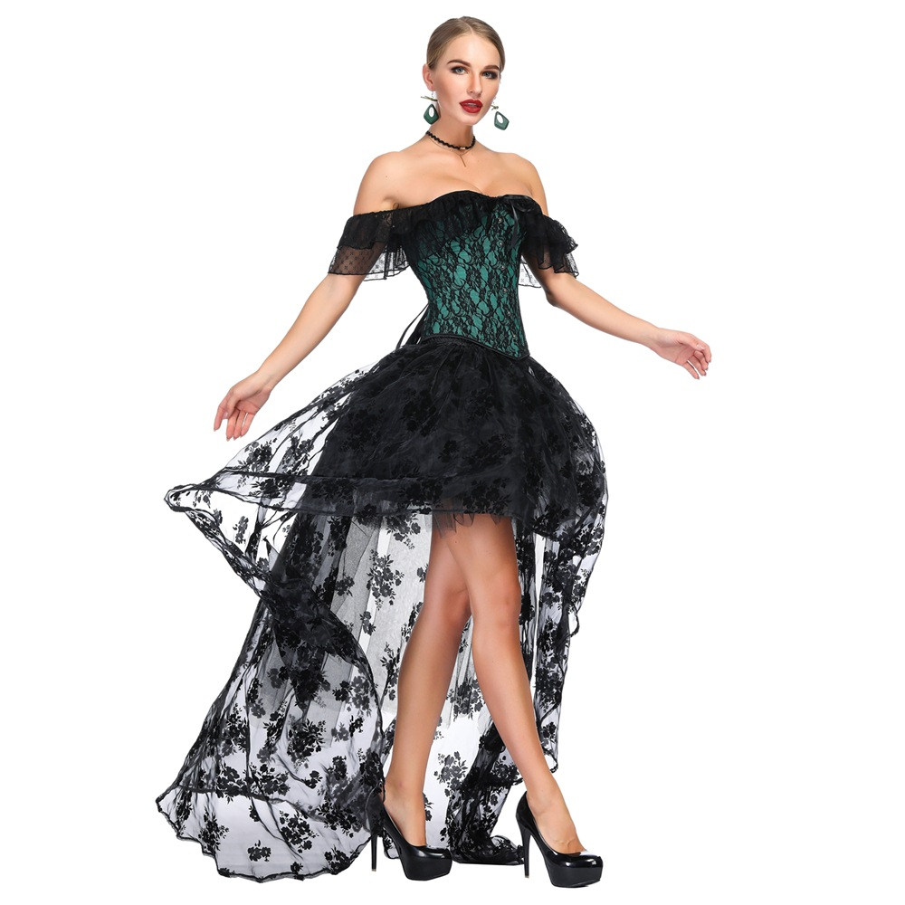 Image 3 - Off Shoulder Corset Set Steampunk Costume Victorian Overbust gathered chest sexy waist trainer steampunk gothic lingerie bustier-in Bustiers & Corsets from Underwear & Sleepwears