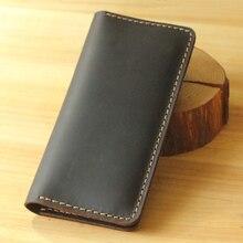 El yapımı Vintage çılgın at hakiki deri cüzdan erkek deri uzun cüzdan el çantası erkek çanta para klipleri para çantası