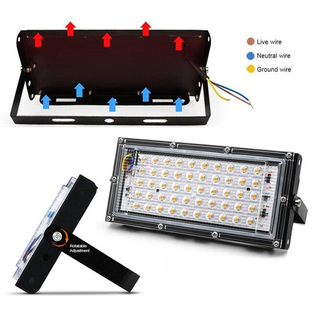 Led projektör 50W AC 220V 230V dış aydınlatma reflektör Led projektör spot projektör sokak lambası dış su geçirmez