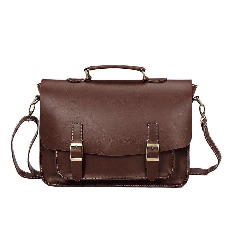 Crazy Horse Artificial Leather Business Handbag Laptop Briefcases For Men Leather Casual Men Messenger Shoulder Bags Vintage Bag