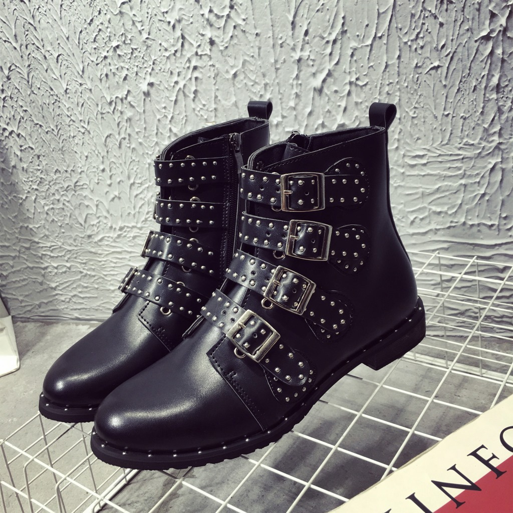 HOKSZVZY Black Studded Leather Ankle Boots Buckles Low Heeled High Women Boots Zapatos Mujer Ladies Shoes Size 42 HYKL-6618