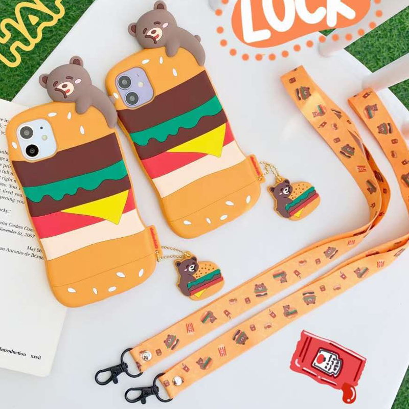 3D Cute Cartoon Hamburger Bear Phone Case For Iphone 12 Mini 11 Pro XS Max X XR 7 8 Plus Lanyard Rope Strap Soft Silicone Cover