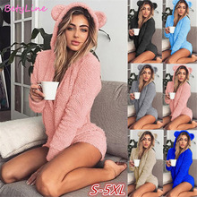 2019  New Women Winter Large Size Pajama For Adults Hooded Rabbit Ear Fleece S-5XL One-piece Animal Jumpsuit Pajamas