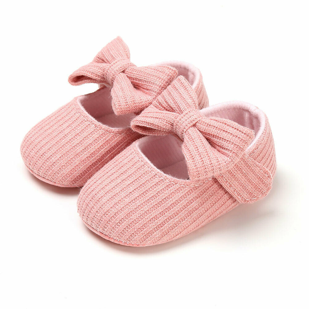 Newborn Baby Girls Shoes Pram Princess Soft Shoes with Knot-Bow First Walkers