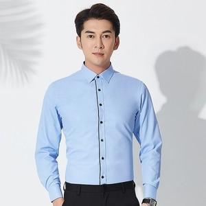 Image 3 - İlkbahar sonbahar artı boyutu 8XL katı erkek iş gömlek uzun kollu Casual Slim Fit pamuk erkek beyaz çizgili sosyal elbise gömlek adam