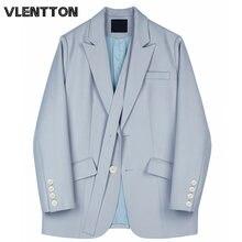 Весна Осень 2020 винтажный Синий Женский блейзер куртка свободного