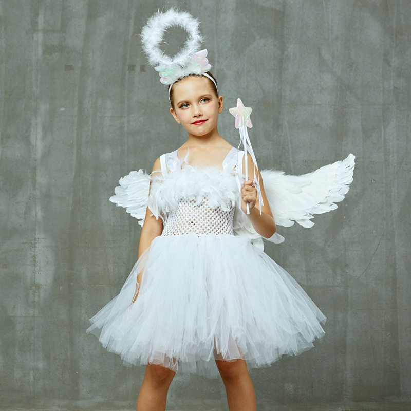 Guardian Angel Kids Halloween Costume White Feather Angel Girls Tutu Dress with Wings & Halo Christmas Nativity Gabriel Clothes (1)