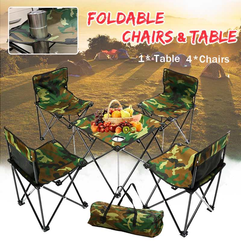 Hot 5 in 1 Outdoor Table and Chairs Camping Hiking Outdoor Foldable Chair Table Set Fishing Picnic BBQ Chair Seat Resting Stool