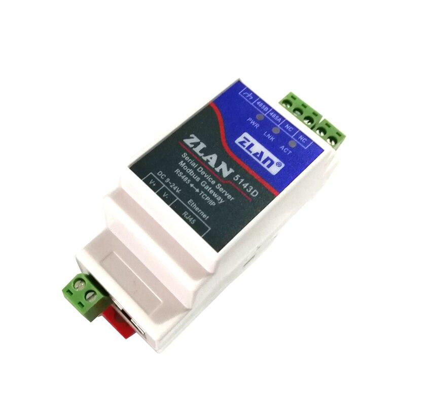 ZLAN 5143D Din Rail Serial RS485 to Ethernet TCP IP Server Ethernet Converter