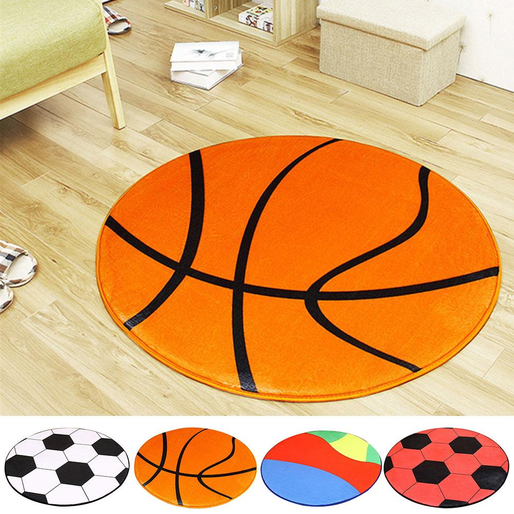 Round Floor Mats For Living Room Football Basketball Pattern Rugs Pad Chair Mat Carpet Rugs Anti Slip Floor Mat Home Decor