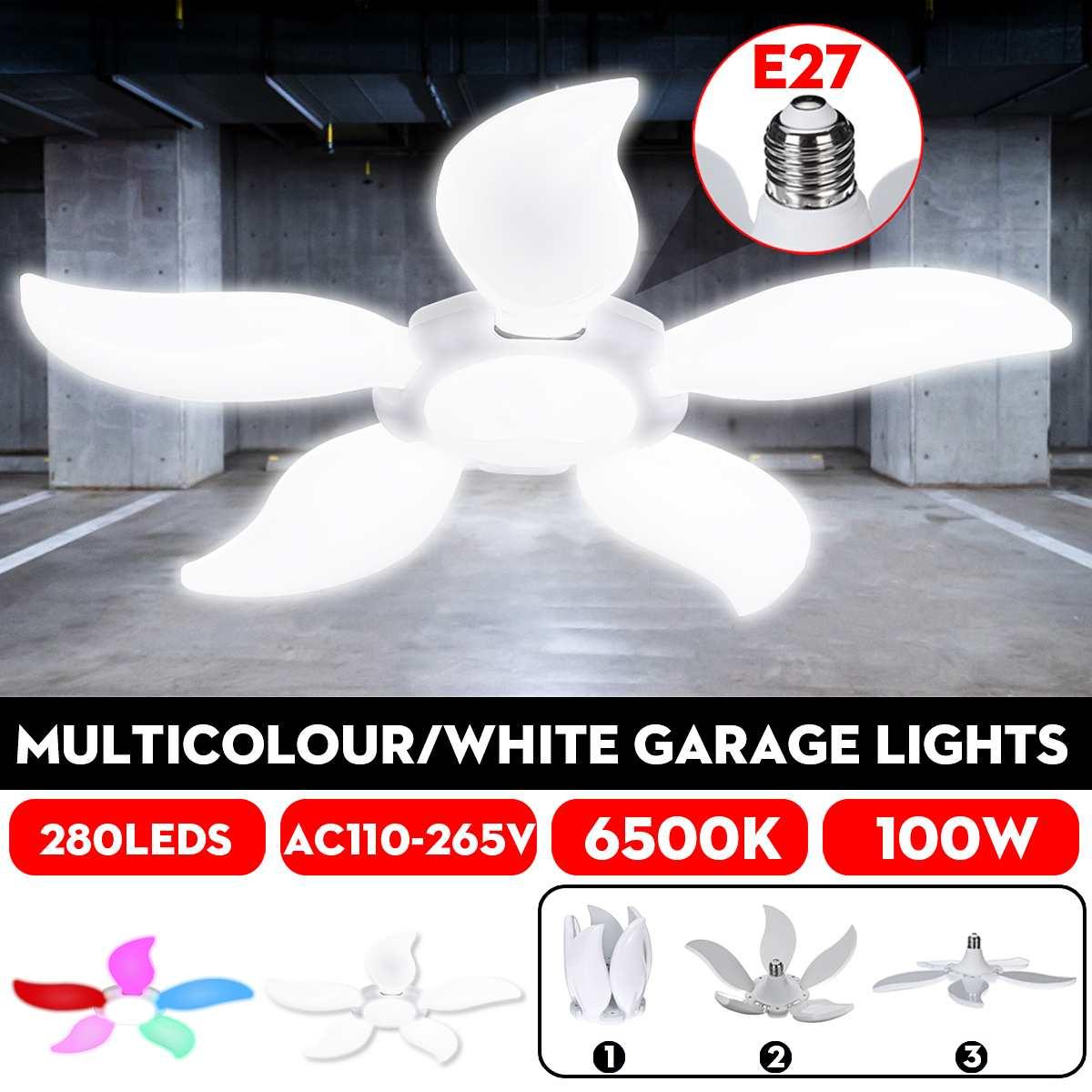 100W 280LED Five-leaf Folding LED Bulb Fan Blade Multicolour/White LED Garage Lights Deformable Ceiling Workshop Lamp