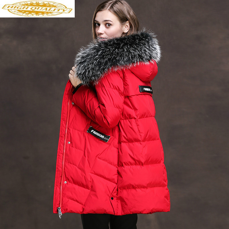 Women's Winter Down Jacket Warm White Duck Down Jacket Woman Hooded Real Fox Fur Collar Long Coat XRHD8707 KJ2938