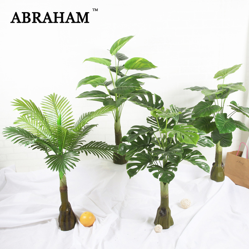 85cm Tropical Monstera Large Artificial Tree Fake Plastic Palm Tree Green Plant Plastic Turtle Leafs For Home Wedding Decoration