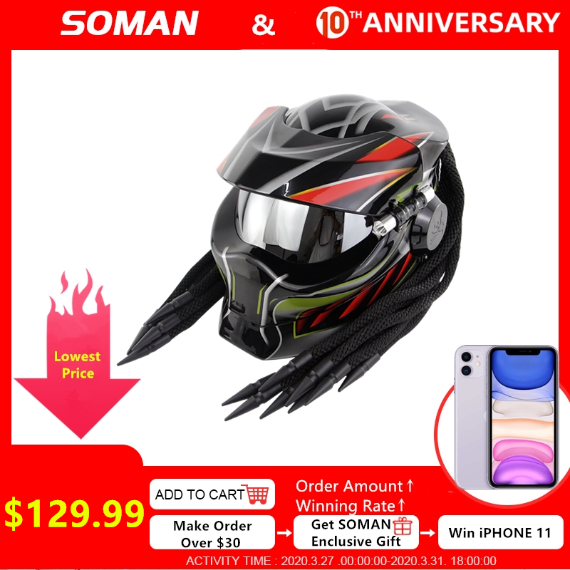 Soman capacetes predator preto rosto cheio capacete com trança capacetes legal casco moto flip up kask capacete da motocicleta predador sm958