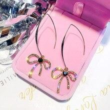 Long Tassel Crystal Drop Earring for Women Bijoux Oversize Bowknot Rhinestone Dangle Earrings Statement Earrings Jewelry цена