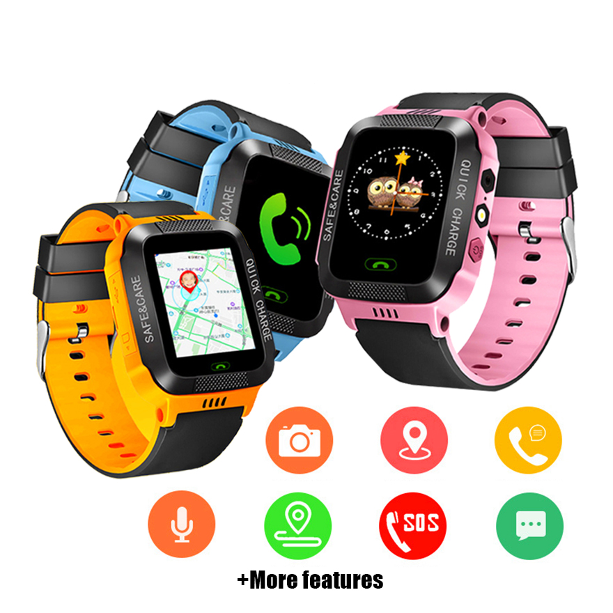 Kids Smart Watch Touch Screen Micro SIM Card Call Tracker Smart Watch GPS SOS Phone Camera Anti-Lost Location Children Clock