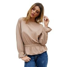 2019 autumn winter solid color long-sleeved shirt