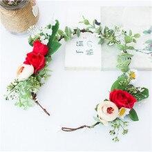 Свадебный головной убор для невесты; головной убор для девочек; Свадебные цветы; венок для волос; повязка на голову; цветочные аксессуары; вечерние украшения