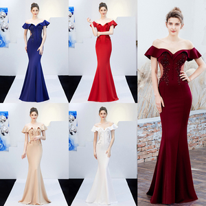 Image 4 - YIDINGZS See through Appliques Beaded Long Evening Dress Off the Shoulder Elegant Evening Party Dress YD16288
