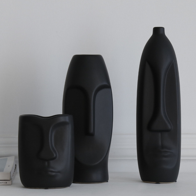 VILEAD More Size Ceramic Face Vase Figurines Creative Europe Ornament Living Room Study Porch Craft Home Decoration Accessories 2