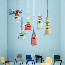Bắc Âu Macaron LED Kính Mặt Dây Chuyền Đèn Chiếu Sáng Phòng Ngủ Phòng Khách Nội Thất LOFT Hiện Đại Mặt Dây Chuyền Đèn Nhà Hàng Trong Nhà Trang Trí