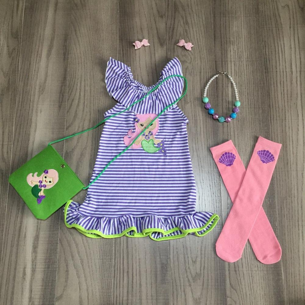 Baby Girls Mermaid Dress Outfits Girls Stripe Dress With Purse Sock Children Summer Outfitsand With Accessories