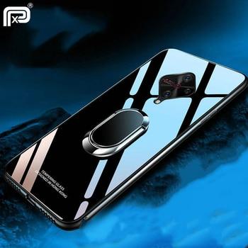 Перейти на Алиэкспресс и купить ДЛЯ VIVO V17 чехол из закаленного стекла Твердый чехол для VIVO S1 Pro V17 Neo Pro Чехол с магнитным кольцом автомобильный держатель Coques